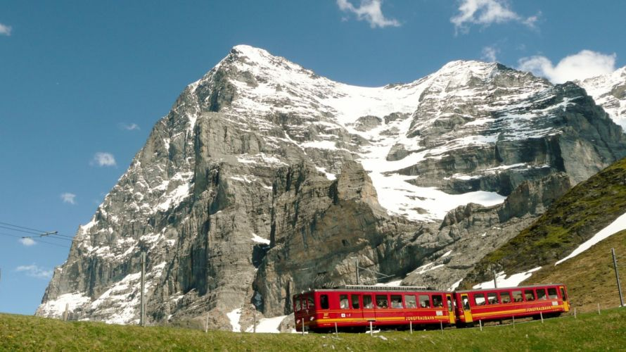 Jungfraubahn & North Face of the Eiger Switzerland wallpaper