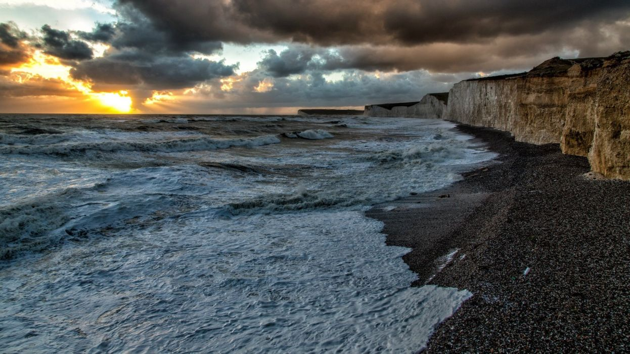 Eastbourne Beach in HDR Photo by MDL Photographic wallpaper