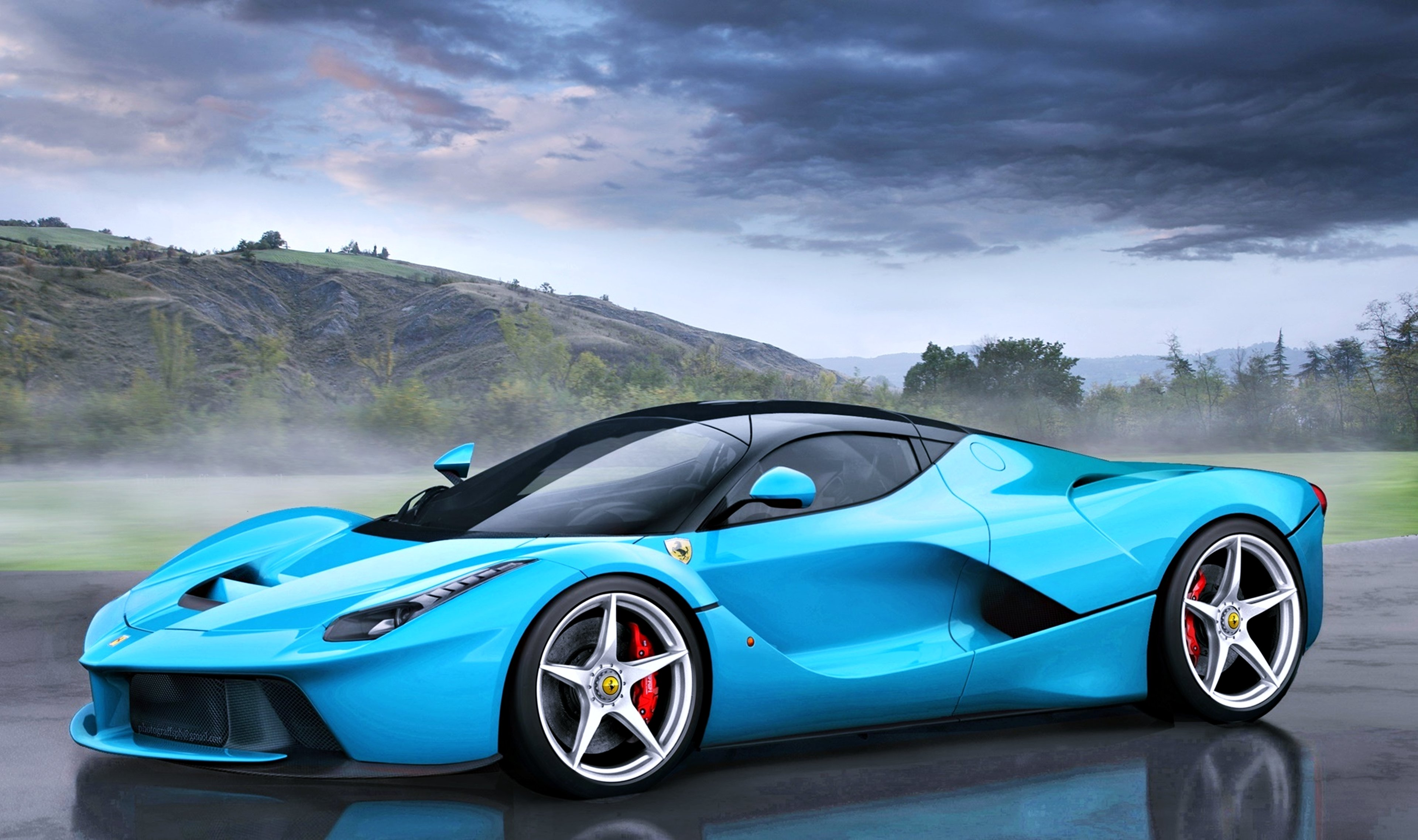 Ferrari Laferrari Tiffany Blue Fog Speed Cars Motors Race Super Wallpaper 3840x2276 622950
