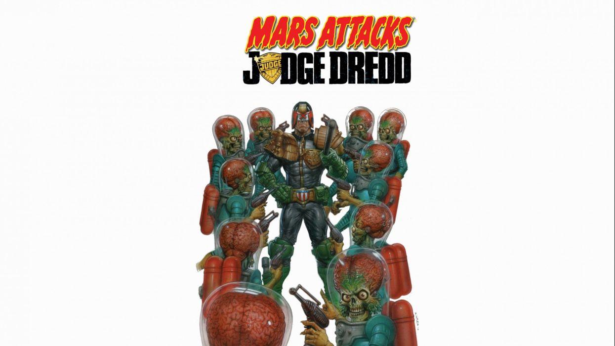 MARS ATTACKS comedy sci-fi martian alien aliens action 1mat apocalyptic comics movie poster judge dredd wallpaper
