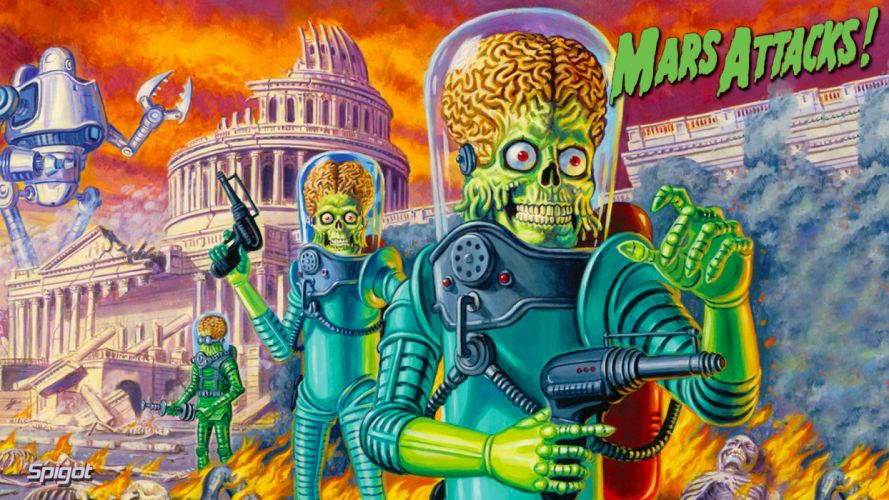 MARS ATTACKS comedy sci-fi martian alien aliens action 1mat apocalyptic comics movie poster wallpaper