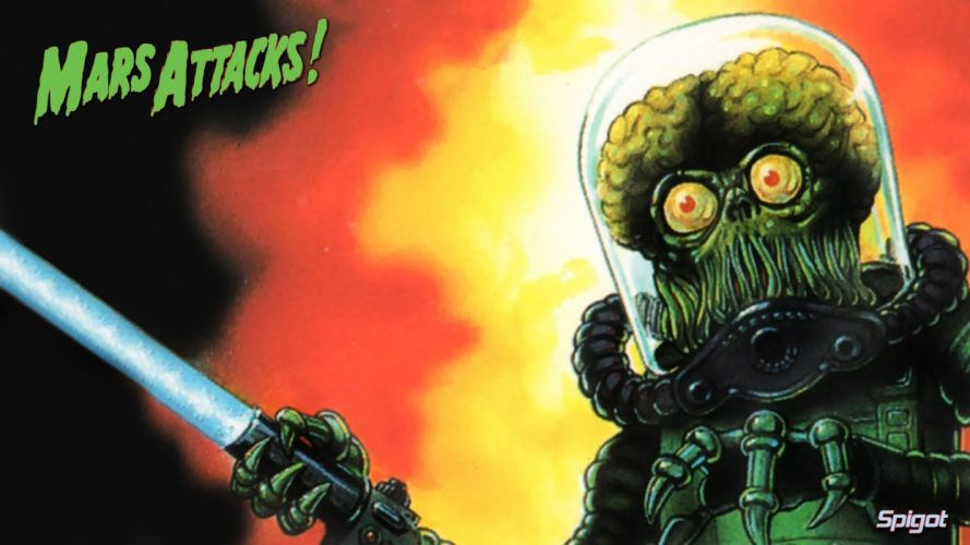 MARS ATTACKS comedy sci-fi martian alien aliens action 1mat apocalyptic comics movie poster wallpaper