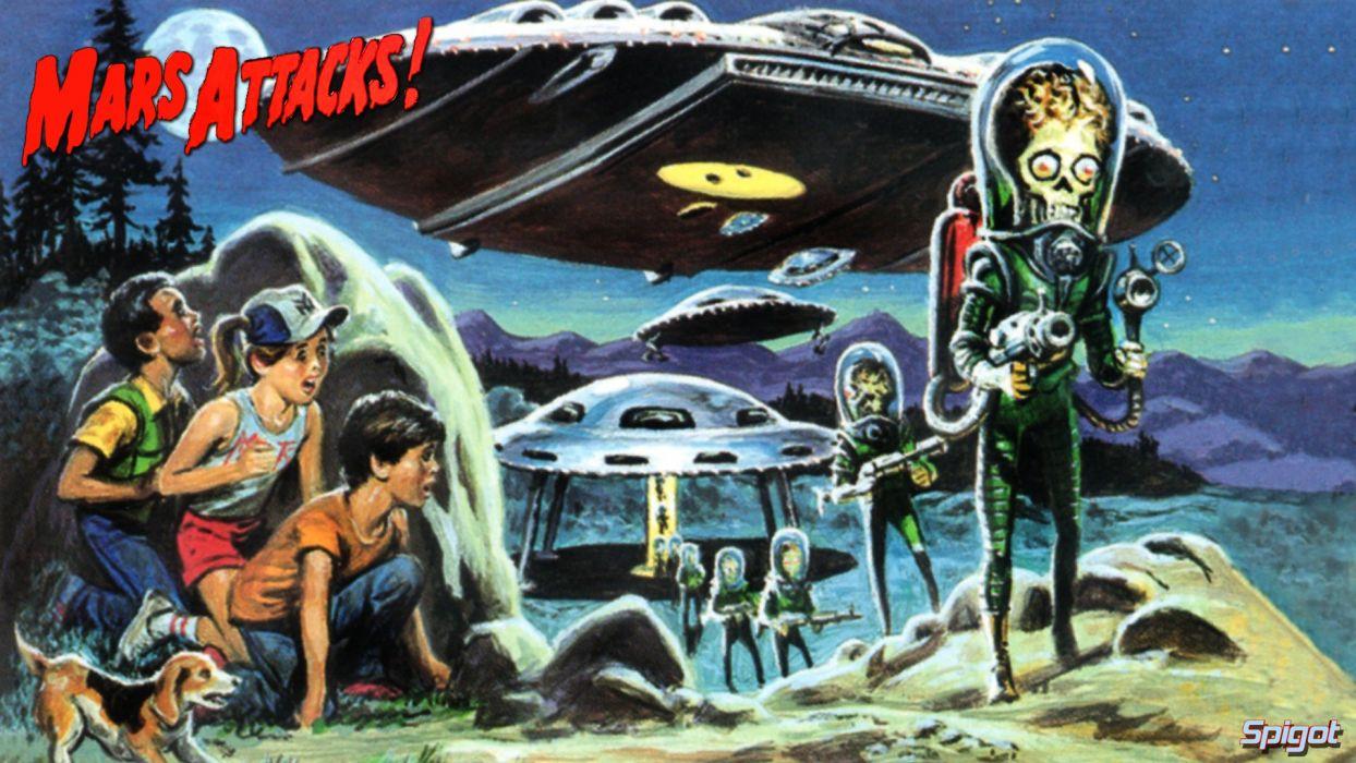 MARS ATTACKS Comedy Sci Fi Martian Alien Aliens Action 1mat Apocalyptic Comics Movie Poster Wallpaper