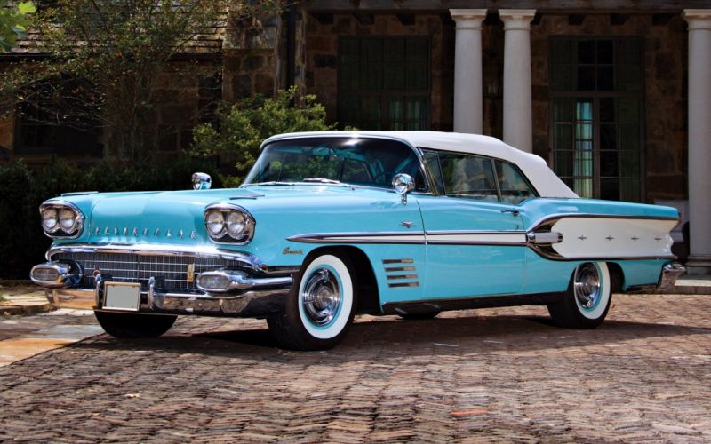 Pontiac Bonneville Convertible 1958 old cars classic motors wallpaper
