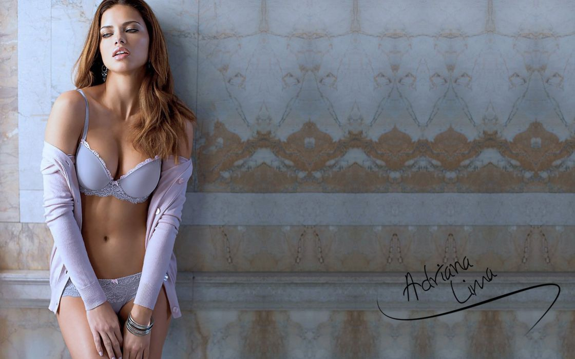 SENSUALITY - Adriana Lima girl brunette model lingerie wallpaper