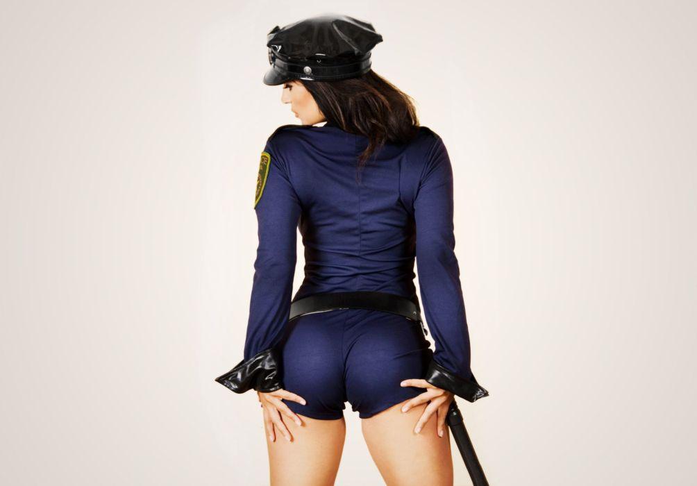 SENSUALITY - girl sensuality brunette back car police truncheon wallpaper