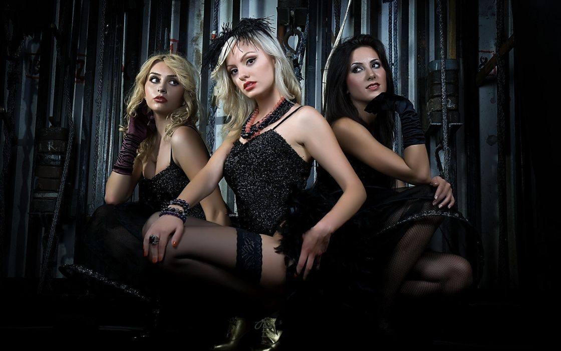 SENSUALITY - girls brunettes blondes stockings wallpaper