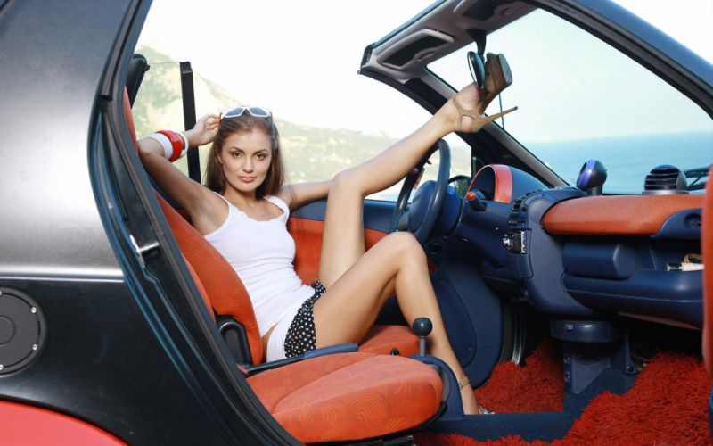 WOMEN AND MACHINES - girl sensuality brunette car legs shoes wallpaper