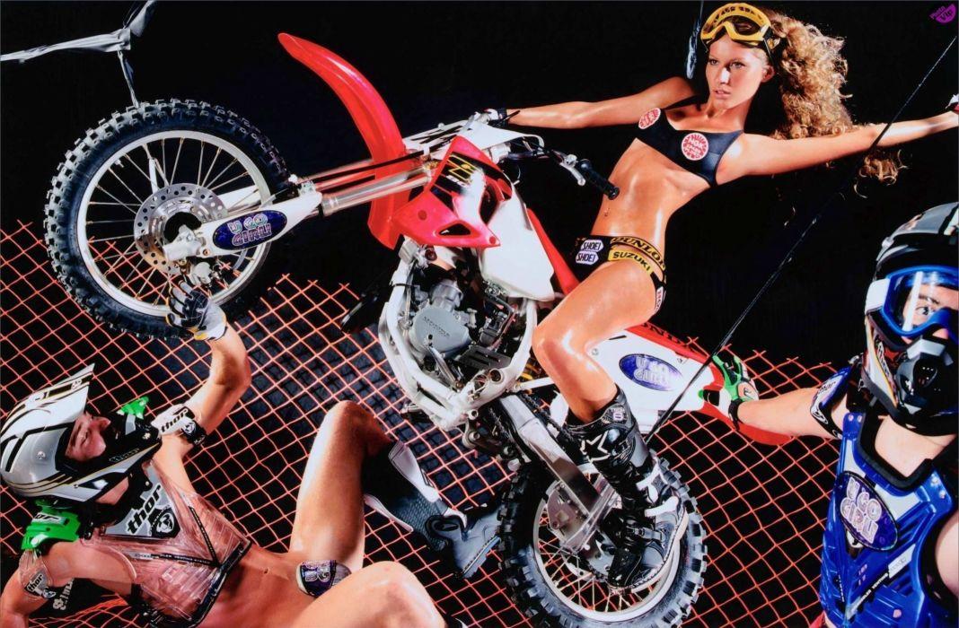 WOMEN AND MACHINES - girl sensuality blonde motorcycle helmet wallpaper