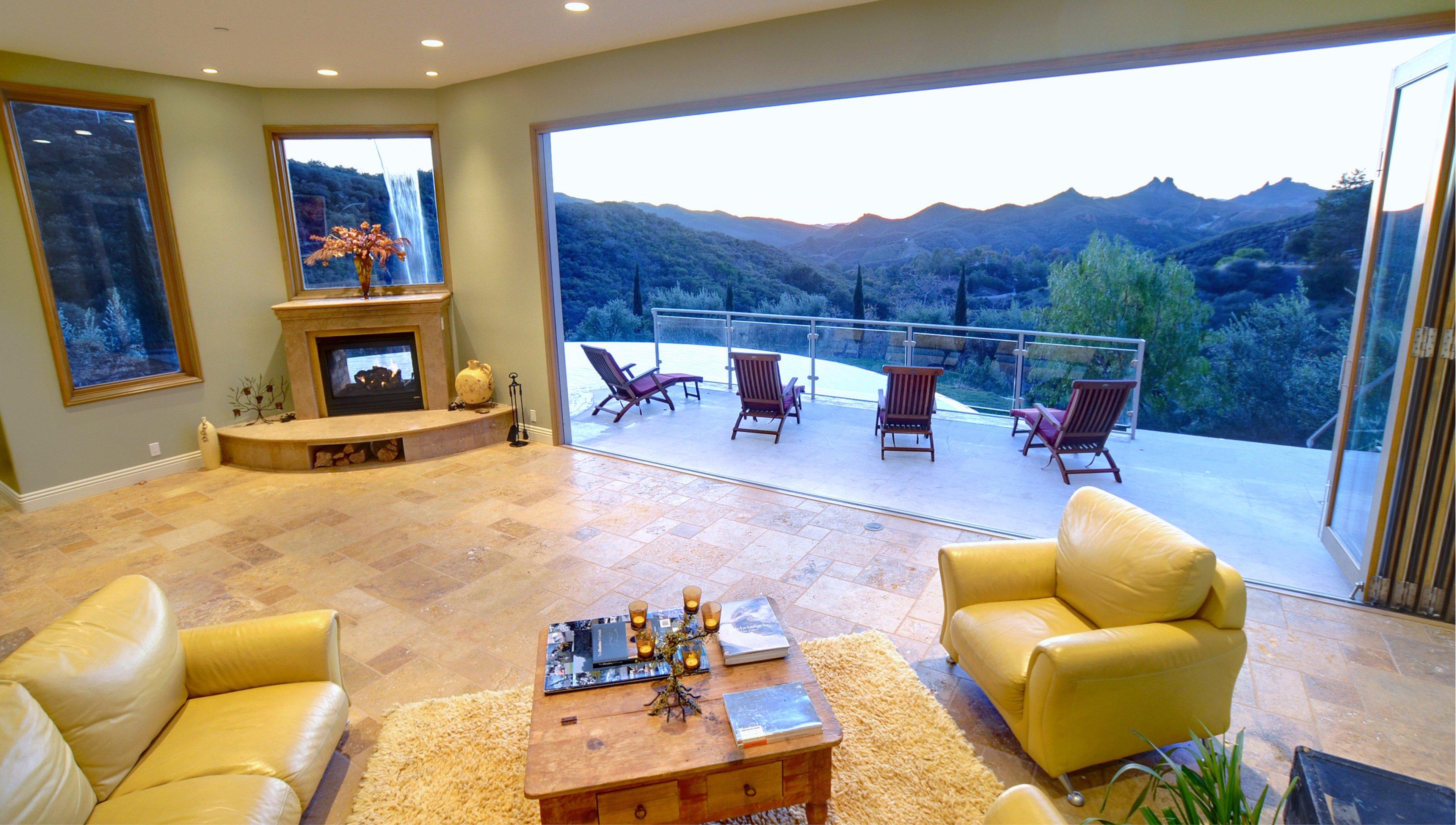 Interior design style landscape house Villa living-room ...