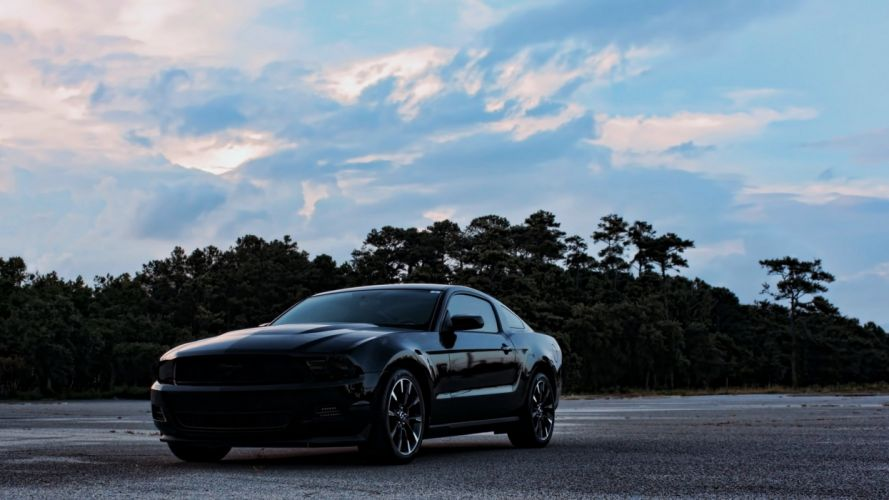 ford mustang black road force speed motors race forest cloud super cars wallpaper