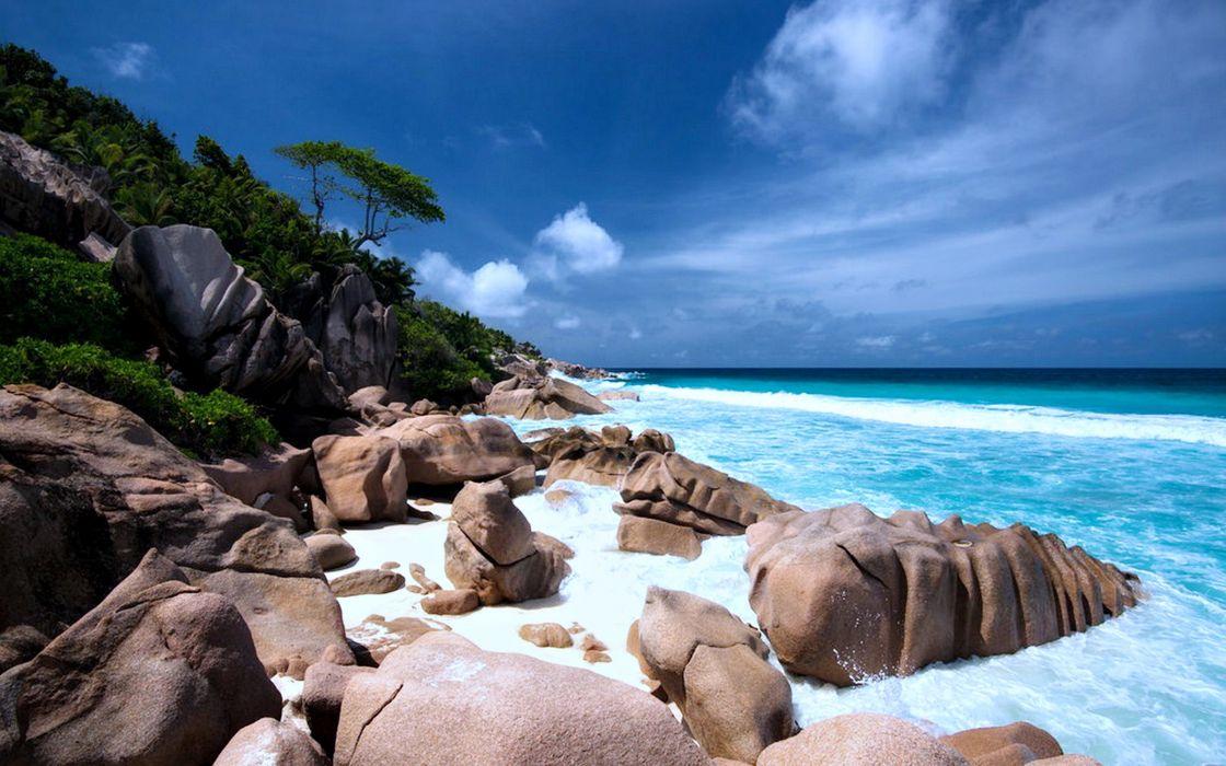 Landscape Nature Beaches Rocks Sea Cloud Summer Relax Wallpaper