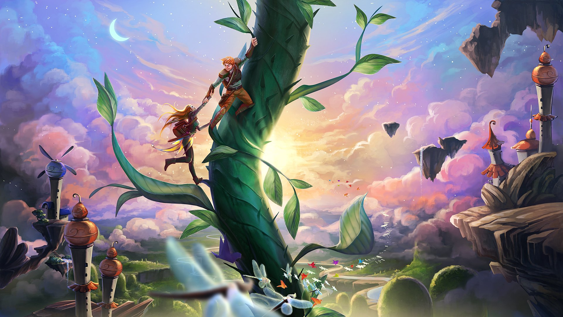 Fantastic world Fairies Clouds Fantasy magical beanstalk ...