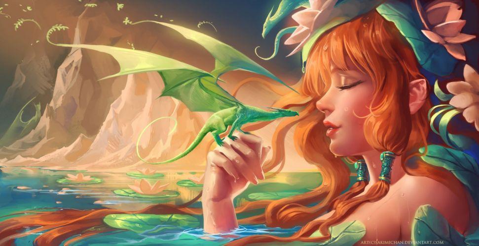 Dragon Redhead girl Fantasy Girls artwork painting mood elf elves wallpaper