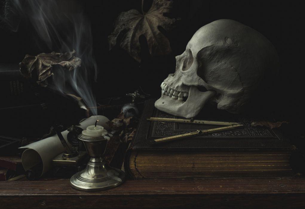 Skull Candles Gothic Book Fantasy dark d wallpaper