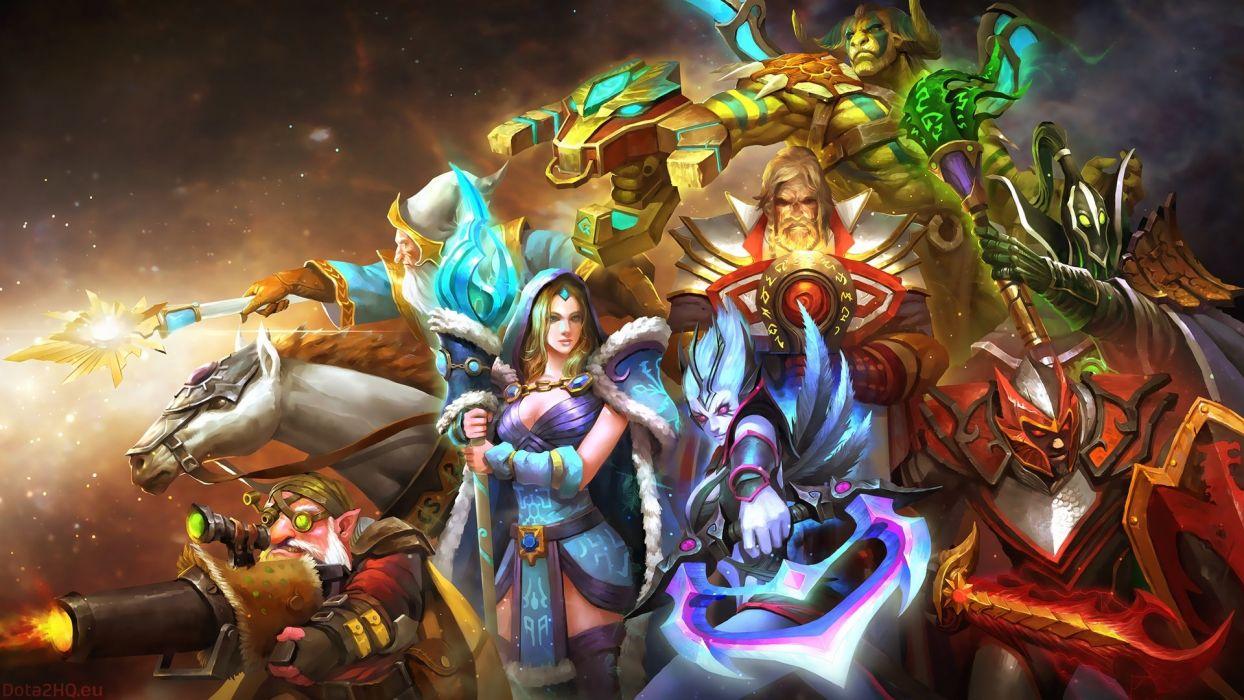 DOTA 2 Warrior Magic Monsters Gyrocopter Dragon Knight Rubick Crystal Maiden Vengeful Spirit Games Fantasy wallpaper