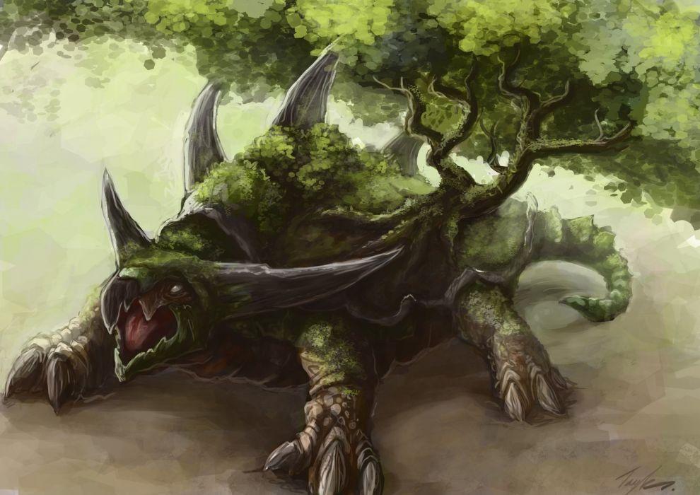Monster Trees Fantasy dragon creature artwork painting turtle wallpaper
