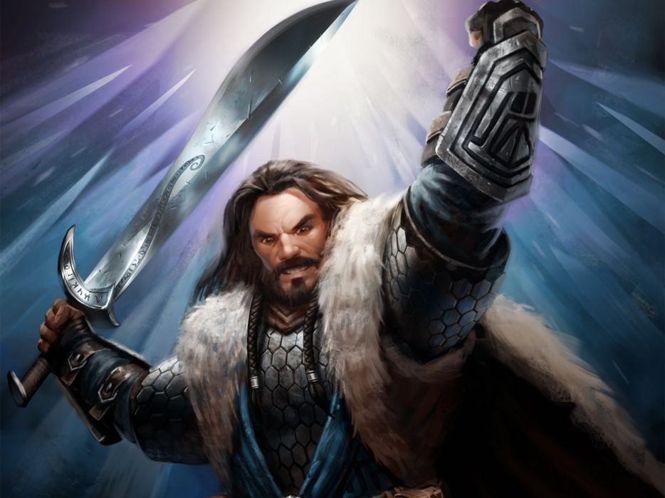 Warrior Men Guardians of Middle Earth Thorin Oakenshield Swords Armor Games Fantasy lotr lord rings wallpaper