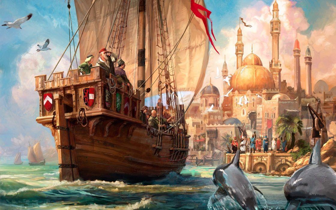 pintura-barco-oleo-puerto-ciudad-galeon wallpaper
