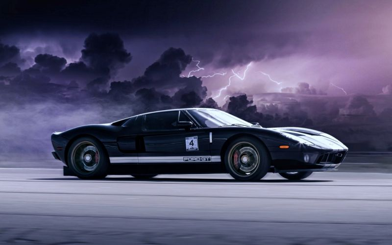 Ford GT Clouds Lightning speed race motors cars super road wallpaper