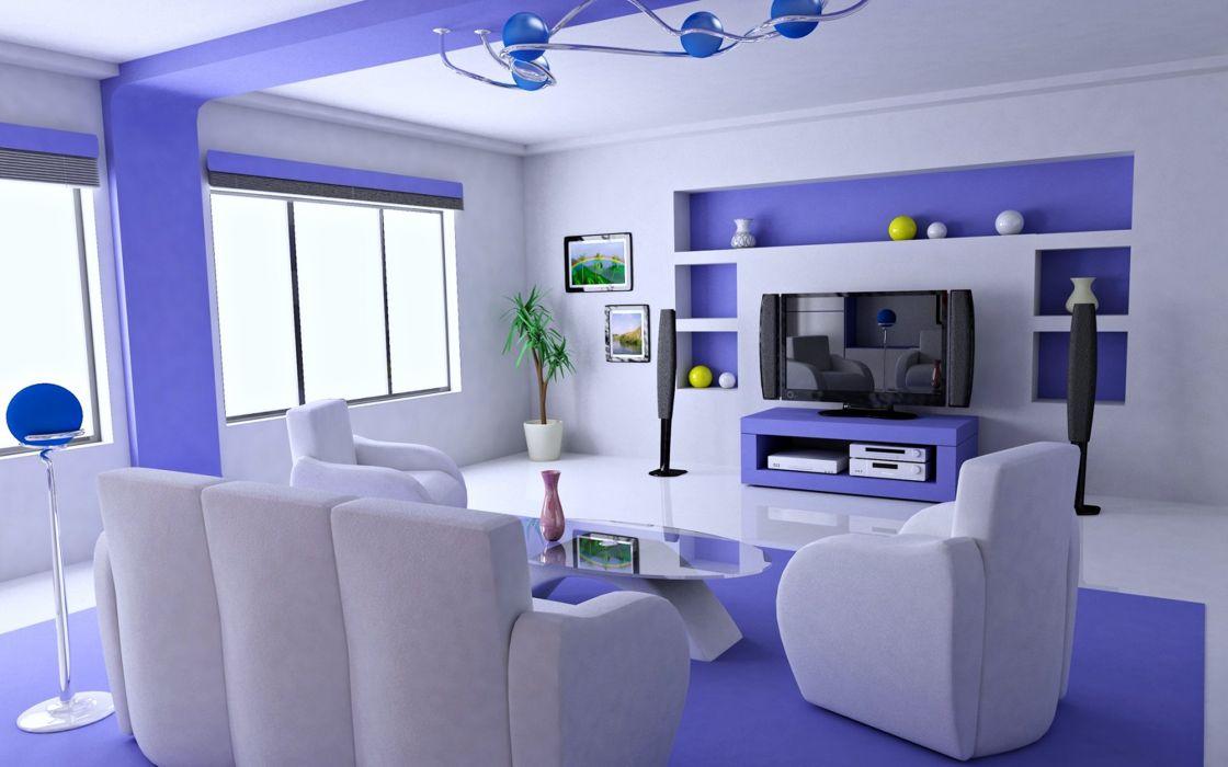 Beauty - design - Happy - House - interior - living-room - relax - style - Villa - Purple - TV wallpaper