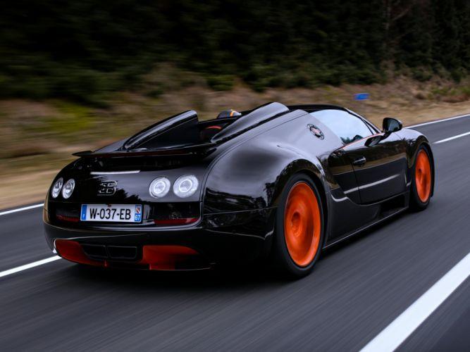 Bugatti Veyron Grand Sport Roadster speed orange black cars super race motors WRC wallpaper