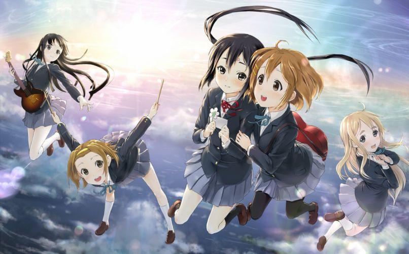 anime series k-on girls group fly sky school uniform wallpaper