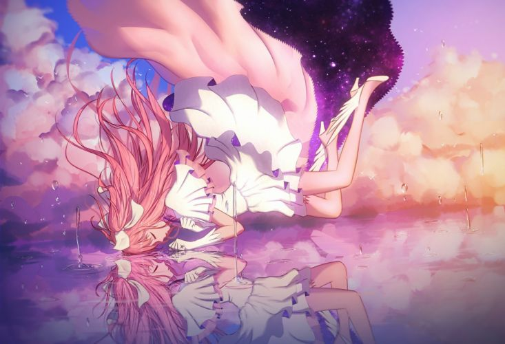 anime girl water dress long hair reflection pink hair wallpaper