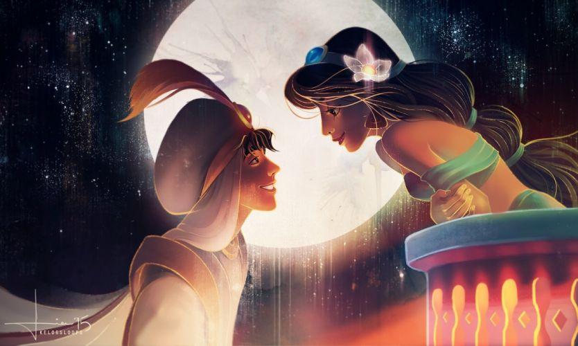 aladdin-disney-jasmine-cartoon moon love romantic night wallpaper