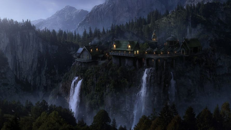 lord of the rings movie art waterfall house fantasy wallpaper