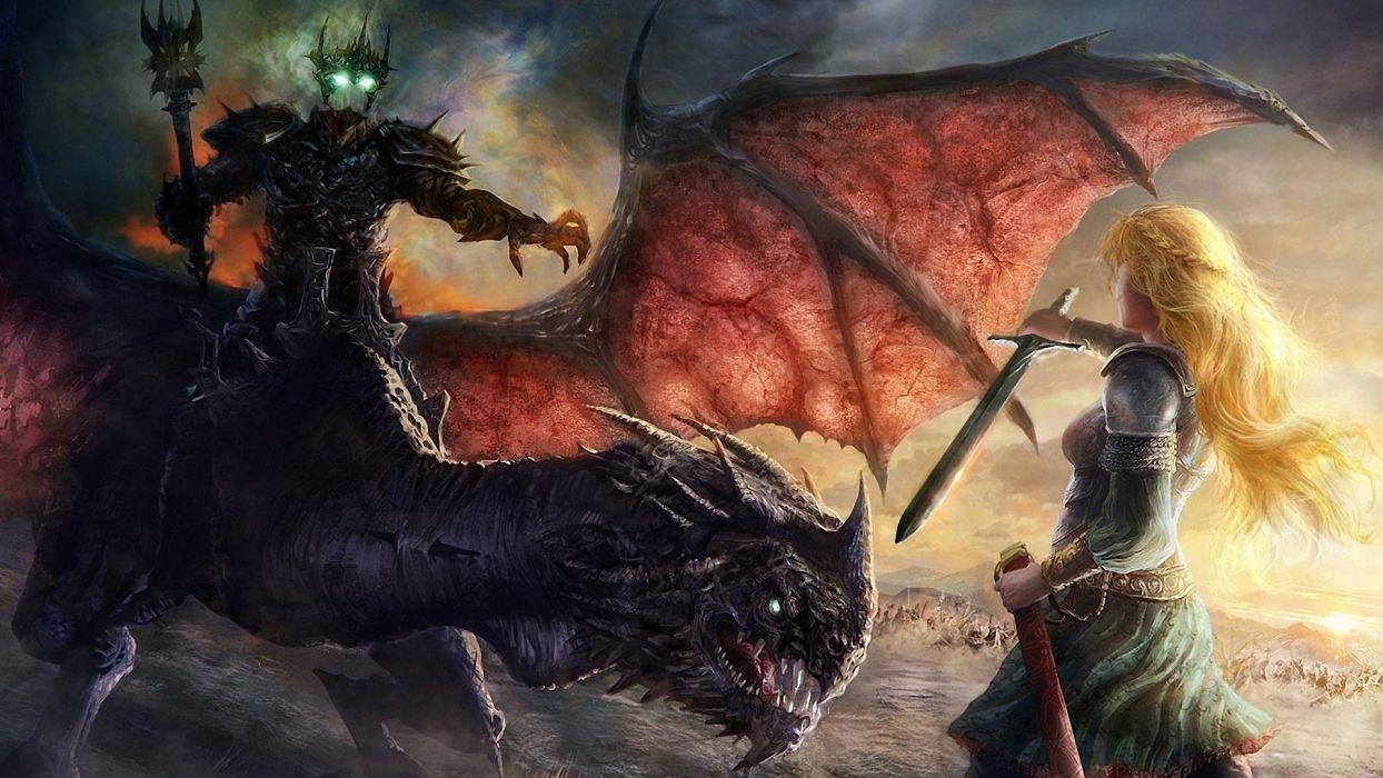 lord of the rings movie art character sword devil monster blonde girl long hair warrior wallpaper
