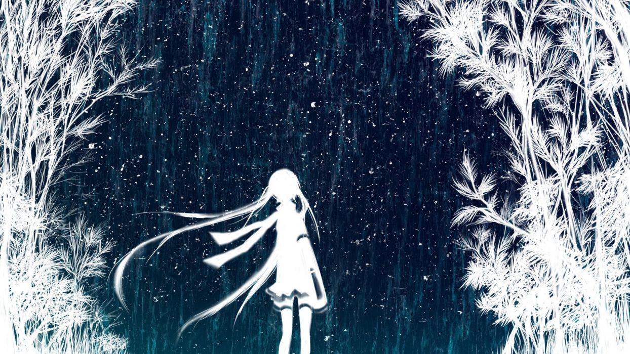 original anime girl tree forest wallpaper