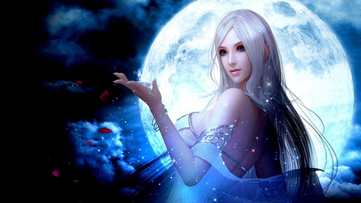 fantasy girl moon petals long hair fairy dress wallpaper