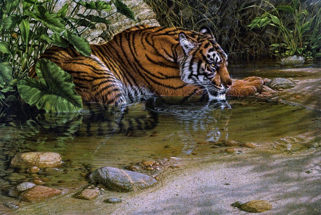 tigre-jungla-animales-pintura-agua-selva wallpaper