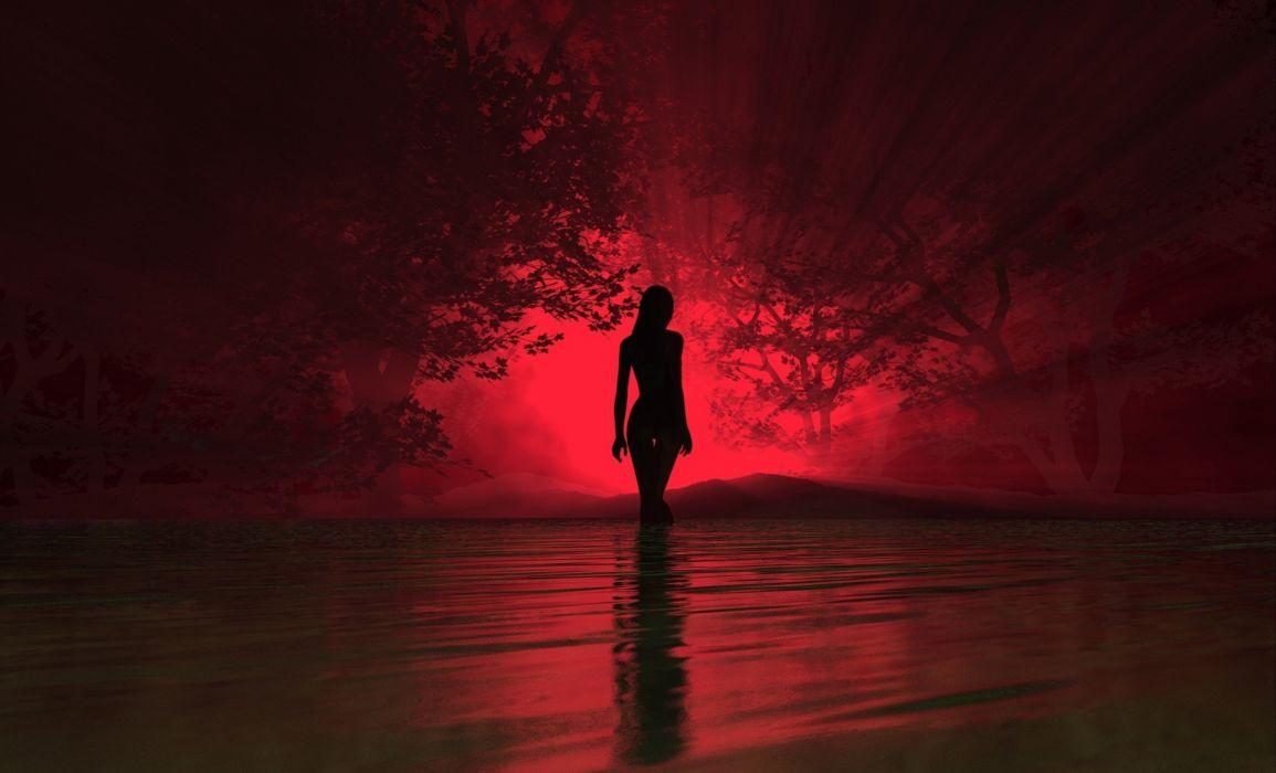 ART - girl river silhouette wallpaper