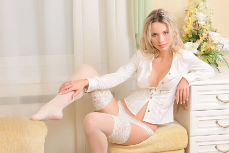 SENSUALITY - girl blonde stockings legs curtain wallpaper