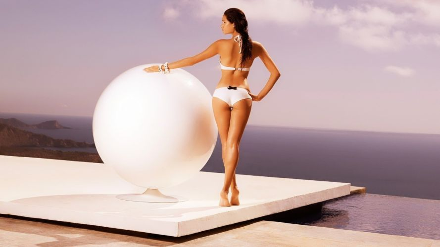 SENSUALITY - girl brunette sea globe swimsuit future wallpaper
