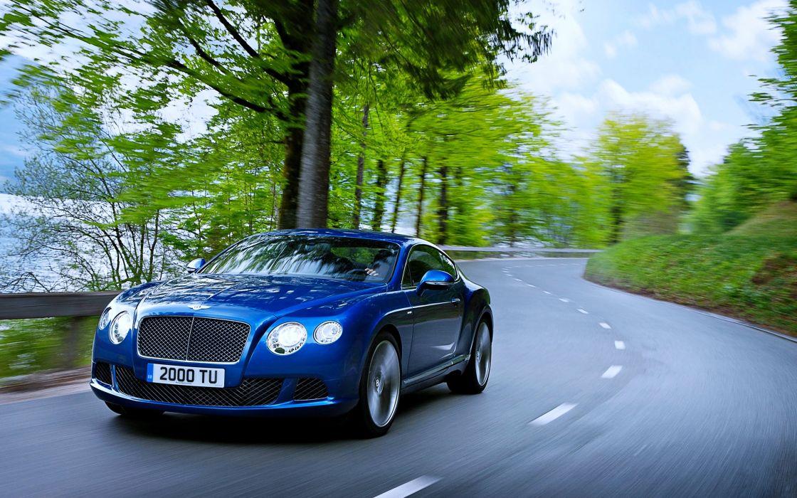 Bentley Continental GT blue road cars trees speed super motors wallpaper