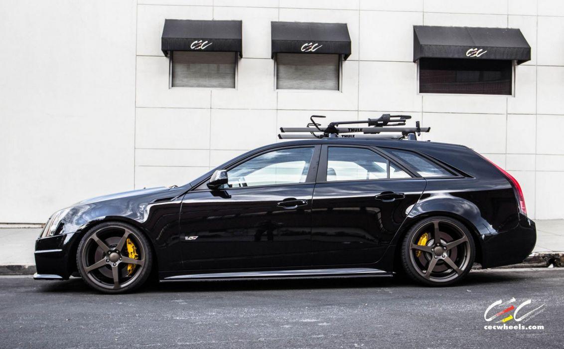 2015 cars CEC Tuning wheels Cadillac CTS-V Wagon black wallpaper