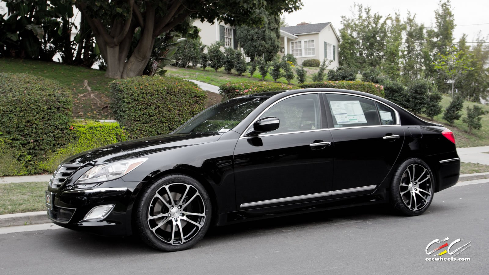 2015 Black Cars Cec Genesis Hyundai Sedan Tuning Wheels