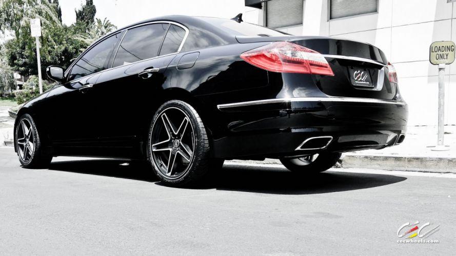2015 black cars CEC genesis hyundai sedan Tuning wheels wallpaper