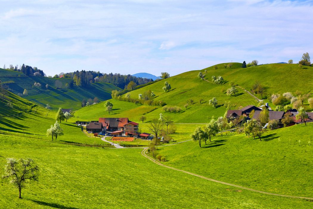 Trees Hills Landscapes Earth Green Mountains Grass Fields rh