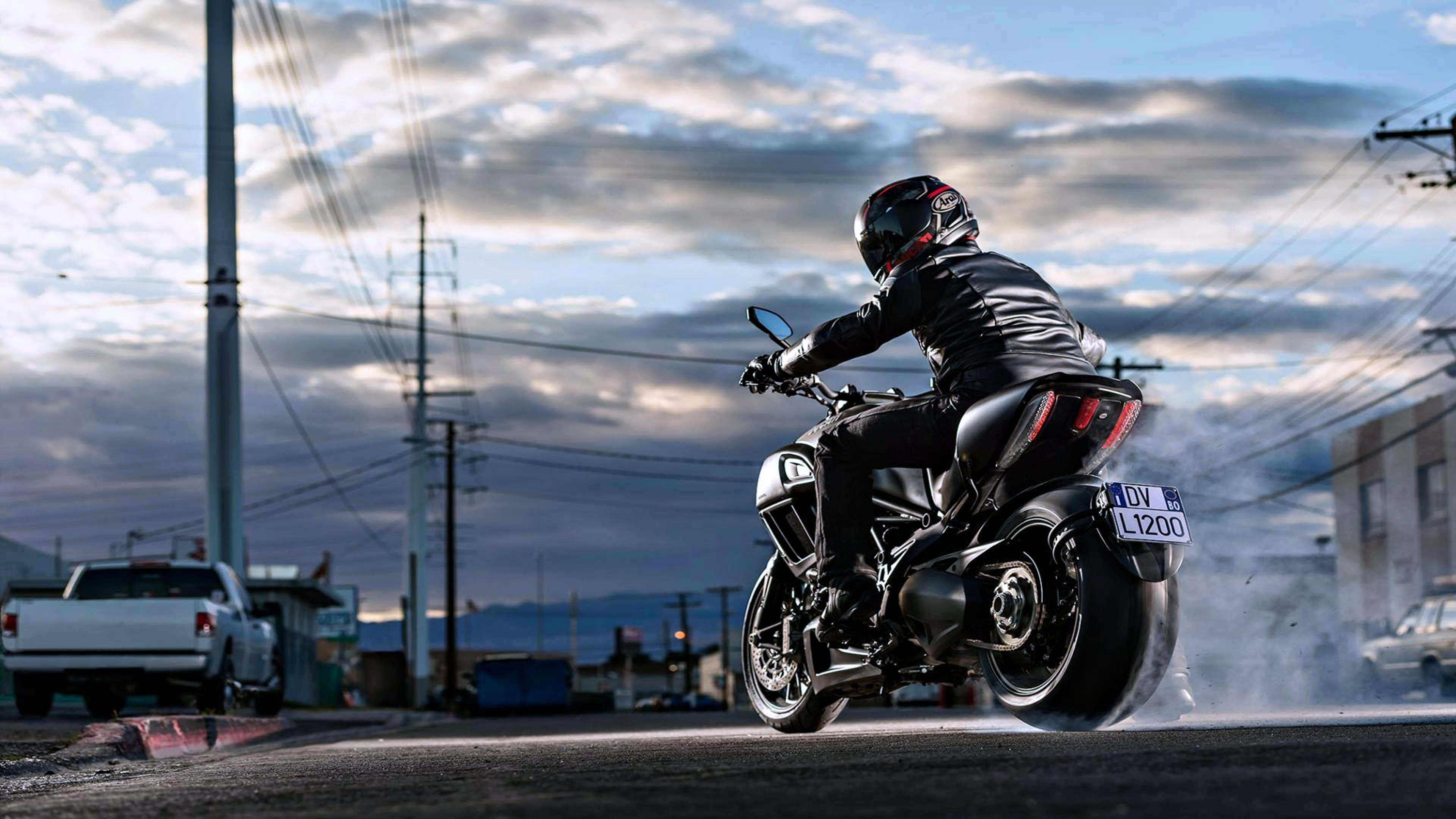motorcycle motorcyclist road race cloud speed bike man ducati diavel