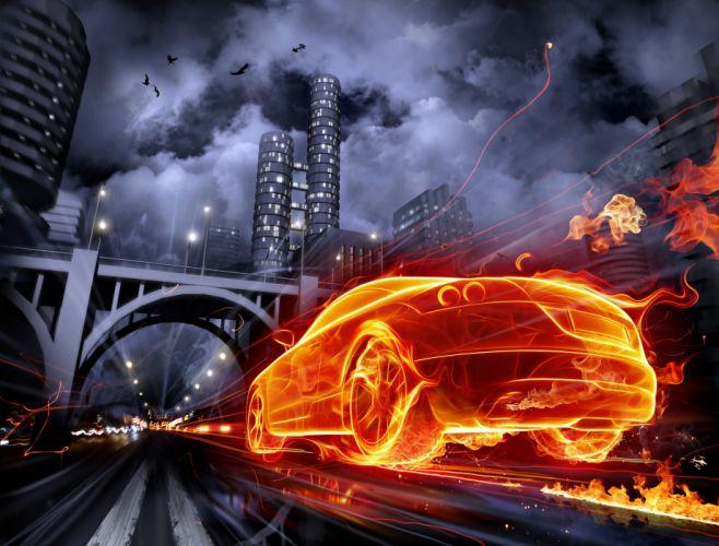 city fire road cars supercar orange speed race motors force fast wallpaper