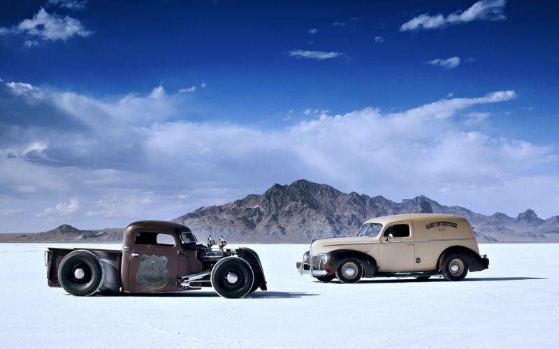 pustynya oblaka old cars desert landscape mountains sky cloud race motors classic trucks wallpaper