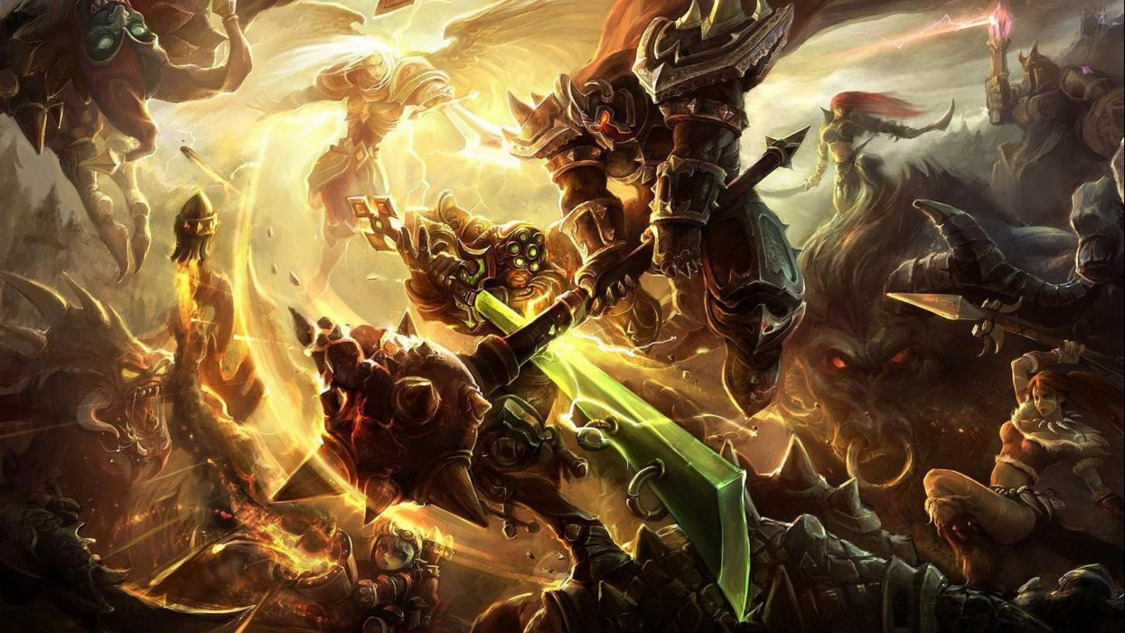 LEAGUE Of LEGENDS lol fantasy online fighting mmo rpg arena game artwork lol warrior action wallpaper