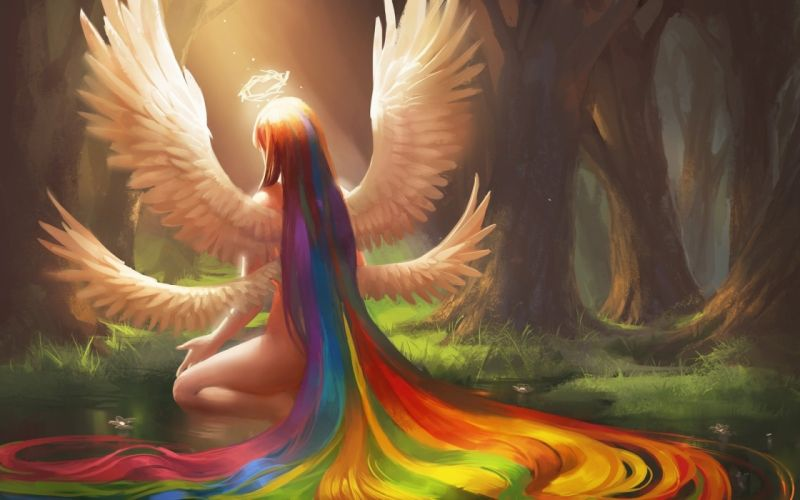 fantasy girl color rainbow hair wings angel tree forest wallpaper