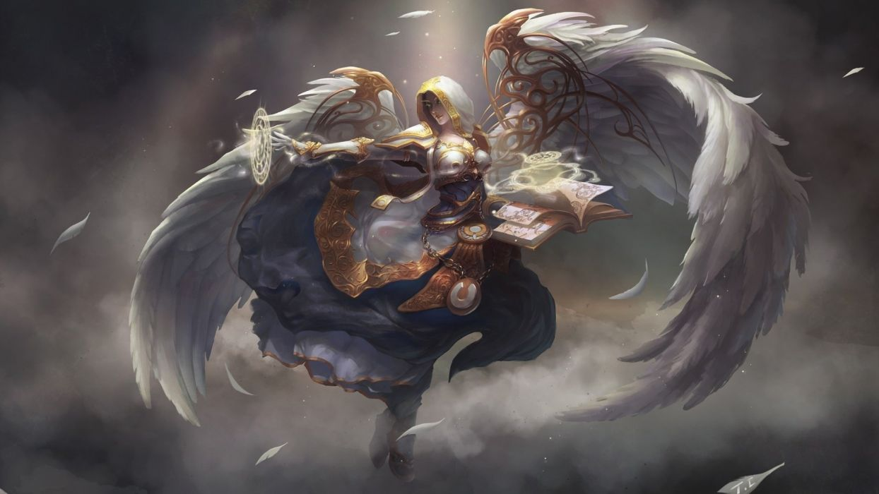 witch fantasy wings angel magic cloud wallpaper