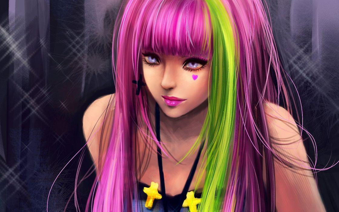 girl fantasy pink green hair beautiful cute wallpaper