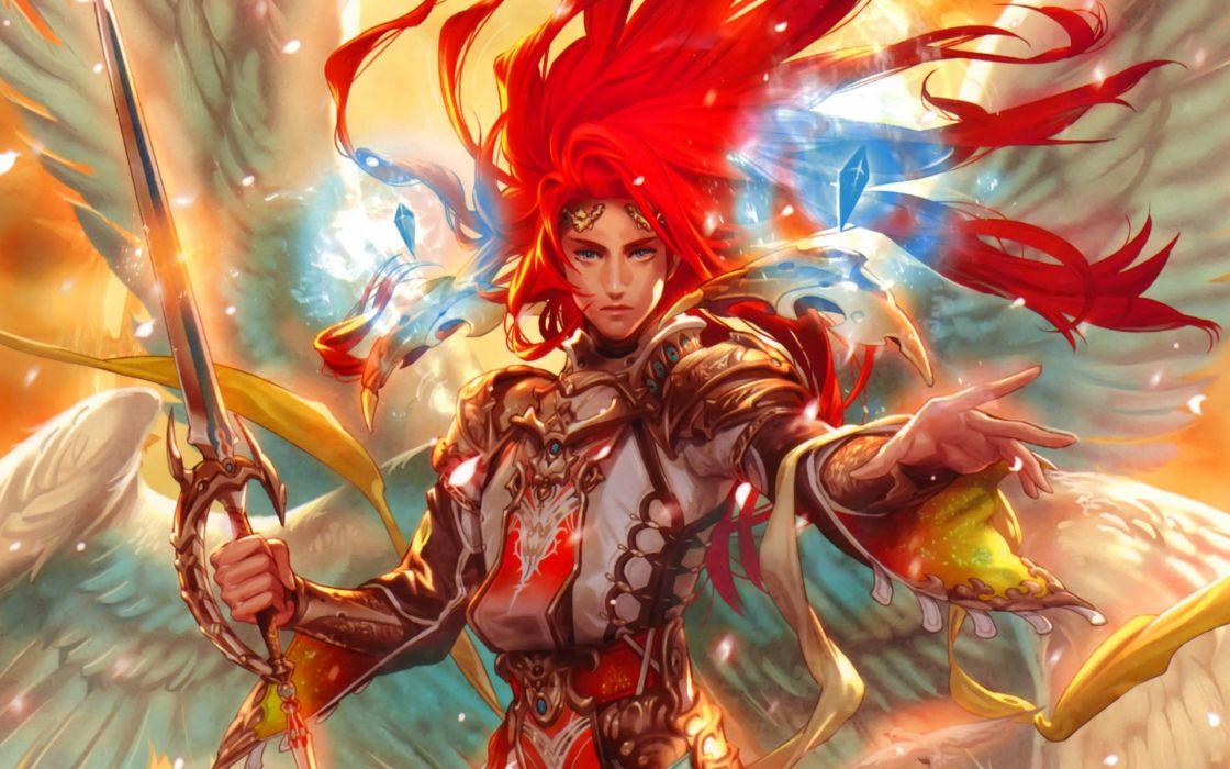 red hair angel wings fantasy girl sword warrior wallpaper